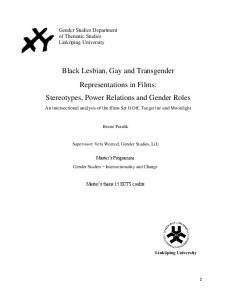 Black Lesbian, Gay and Transgender Representations in Films: Stereotypes, Power Relations and Gender Roles