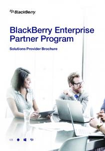 BlackBerry Enterprise Partner Program. Solutions Provider Brochure