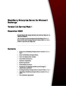 BlackBerry Enterprise Server for Microsoft Exchange
