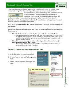 Blackboard - Create & Deploy a Test