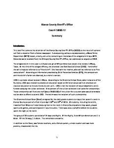 Blanco County Sheriff s Office. Case # Summary