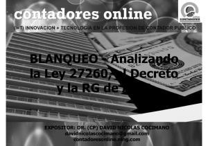 BLANQUEO - Analizando la Ley 27260, el Decreto y la RG de AFIP