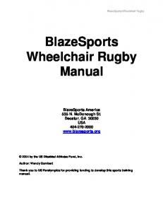 BlazeSports Wheelchair Rugby. Manual