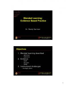 Blended Learning: Evidence Based Practice