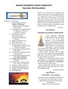 BLESSED SACRAMENT PARISH COMMUNITY December 2016 Newsletter
