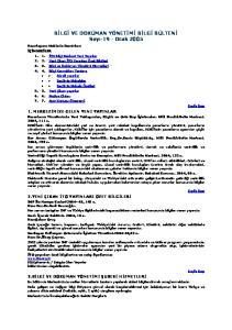 BİLGİ VE DOKÜMAN YÖNETİMİ BİLGİ BÜLTENİ Sayı-19 - Ocak 2005