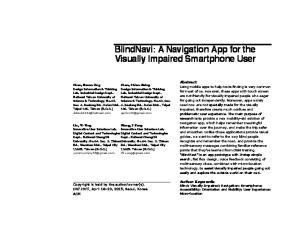 BlindNavi: A Navigation App for the Visually Impaired Smartphone User