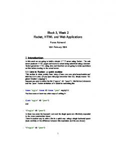 Block 3, Week 2 Racket, HTML and Web Applications