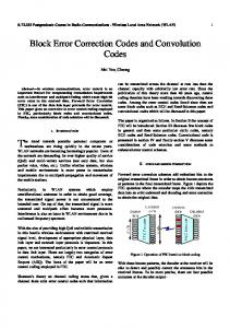Block Error Correction Codes and Convolution Codes