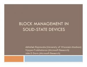 BLOCK MANAGEMENT IN SOLID-STATE DEVICES