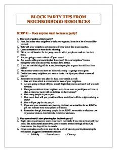 BLOCK PARTY TIPS FROM NEIGHBORHOOD RESOURCES