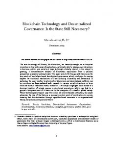 Blockchain Technology and Decentralized Governance: Is the State Still Necessary?