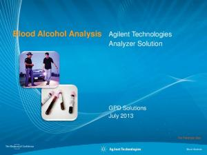 Blood Alcohol Analysis Agilent Technologies