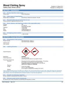Blood Clotting Spray Safety Data Sheet (SDS)