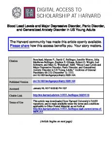 Blood Lead Levels and Major Depressive Disorder, Panic Disorder, and Generalized Anxiety Disorder in US Young Adults