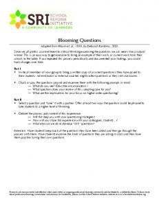 Blooming Questions Appendix I Bloom s Taxonomy: Sample Questions