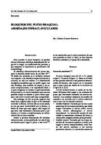 BLOQUEOS DEL PLEXO BRAQUIAL: ABORDAJES INFRACLAVICULARES