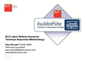 BLP Latent Defects Insurance Technical Assurance Methodology