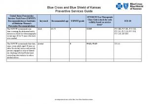 Blue Cross and Blue Shield of Kansas Preventive Services Guide