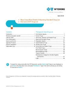 Blue Cross Blue Shield of Wyoming Standard Drug List Kid Care CHIP Drug List