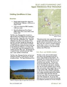 BLUE LAKES PLANNING UNIT Upper Mokelumne River Watershed