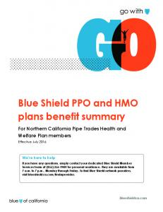 Blue Shield PPO and HMO plans benefit summary