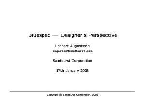 Bluespec Designer s Perspective