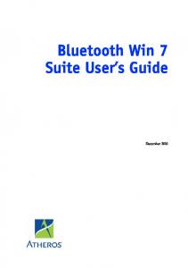 Bluetooth Win 7 Suite User s Guide