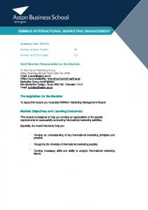 BMM645 INTERNATIONAL MARKETING MANAGEMENT