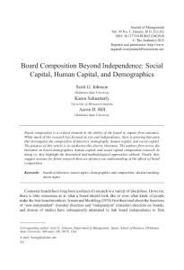 Board Composition Beyond Independence: Social Capital, Human Capital, and Demographics