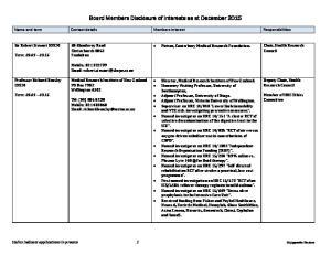 Board Members Disclosure of Interests as at December 2015