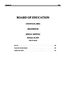 BOARD OF EDUCATION CINCINNATI, OHIO PROCEEDINGS