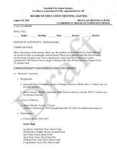 BOARD OF EDUCATION MEETING AGENDA