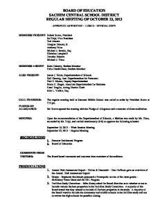 BOARD OF EDUCATION SACHEM CENTRAL SCHOOL DISTRICT REGULAR MEETING OF OCTOBER 23, 2013