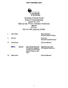 Board of Trustees Meeting - Agenda