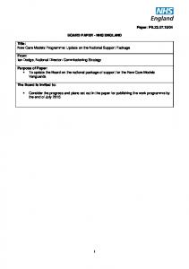 BOARD PAPER - NHS ENGLAND. Purpose of Paper: To update the Board on the national package of support for the New Care Models Vanguards