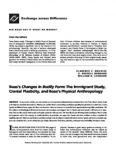 Boas s Changes in Bodily Form: The Immigrant Study, Cranial Plasticity, and Boas s Physical Anthropology