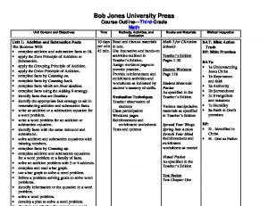 Bob Jones University Press Course Outline Third-Grade Math Unit Content and Objectives Time Methods, Activities, and Evaluation
