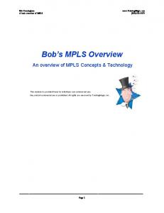 Bob s MPLS Overview. An overview of MPLS Concepts & Technology