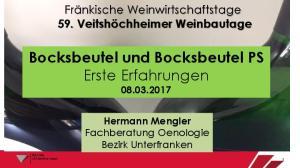 Bocksbeutel und Bocksbeutel PS Erste Erfahrungen