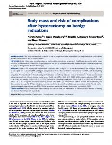 Body mass and risk of complications after hysterectomy on benign indications