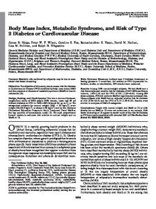 Body Mass Index, Metabolic Syndrome, and Risk of Type 2 Diabetes or Cardiovascular Disease