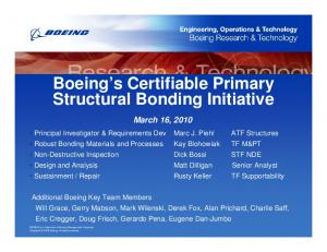 Boeing s Certifiable Primary Structural Bonding Initiative