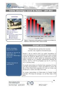Boletim climatológico mensal da Madeira abril 2012
