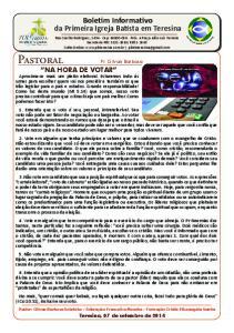 Boletim Informativo da Primeira Igreja Batista em Teresina
