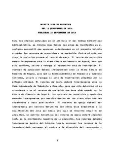 BOLETIN 3659 DE REGISTROS DEL 13 SEPTIEMBRE DE 2014 PUBLICADO 15 SEPTIEMBRE DE 2014