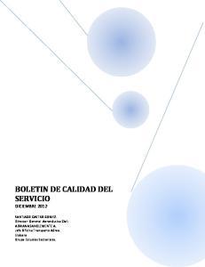 BOLETIN DE CALIDAD DEL SERVICIO DICIEMBRE 2012
