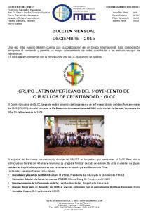 BOLETIN MENSUAL DECIEMBRE GRUPO LATINOAMERICANO DEL MOVIMIENTO DE CURSILLOS DE CRISTIANDAD - GLCC