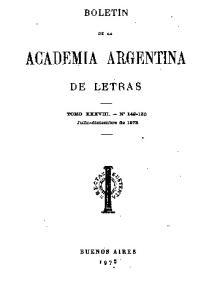 BOLETtN .DE LA ACADEMIA ARGENTINA DE LETRAS. '1'0110 XXXVIII. - :N
