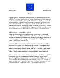 Bolivia. Debido proceso e independencia judicial
